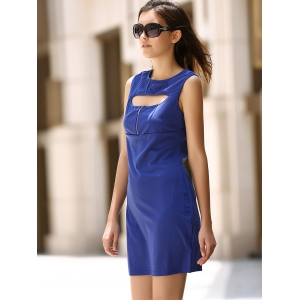 Alluring Jewel Neck Sleeveless Pure Color Zippered Cut Out Women's Bodycon Dress -