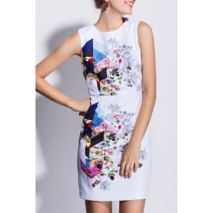 Rose Print Sleeveless Bodycon Dress -