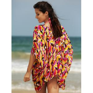 Stylish Women's Plunging Neck Loose Print Cover Up -