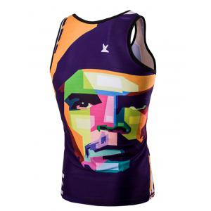 Trendy 3D Round Neck Human Face Printed Tank Top For Men -