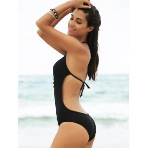 Plunging Neck Open Back One Piece Swimwear -