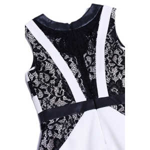 Lace Spliced Sleeveless Work Bodycon Dress - WHITE XL