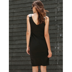 Brief Plunging Neck Sleeveless Bodycon Spliced Women's Dress -