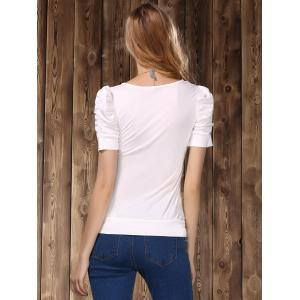 Stylish Women's U Neck Short Sleeve Pure Color T-Shirt -