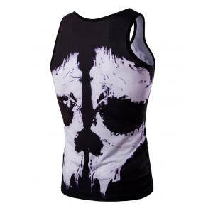 Trendy 3D Round Neck Black And White Skulls Printed Men's Tank Top - COLORMIX 2XL