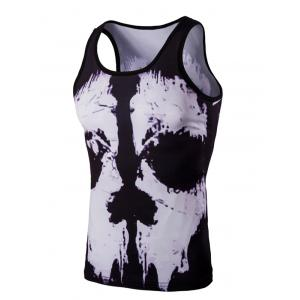 Trendy 3D Round Neck Black And White Skulls Printed Men's Tank Top