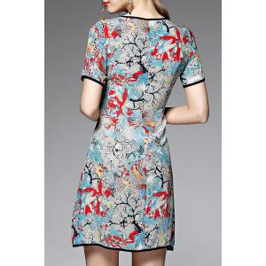Short Sleeve Print Spliced Dress -