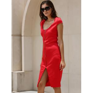 Alluring Plunging Neck Short Sleeve Zippered Women's Dress -