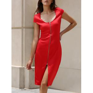 Alluring Plunging Neck Short Sleeve Zippered Women's Dress