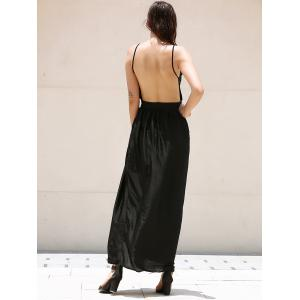 V-Neck Spaghetti Strap Backless Prom Maxi Dress - BLACK S