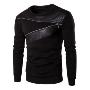 PU Leather Panel Zipper Design Sweatshirt - Black - M