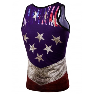 Fashion 3D Round Neck American Flag Printed Tank Top For Men - COLORMIX M