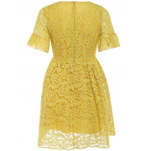 Charming High-Waist Yellow Lace Dress For Women -
