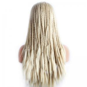 Stunning Blonde Braided Hair Long Heat Resistant Fiber Lace Front Wig For Women - BLONDE