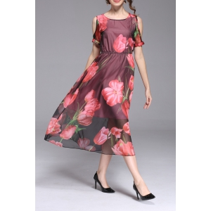 Scoop Neck Floral Print Mid-Calf Dress -