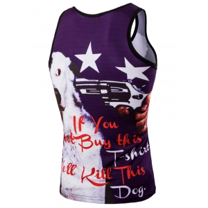 Trendy 3D Men's Round Neck Letter And Stars Printed Tank Top - COLORMIX L
