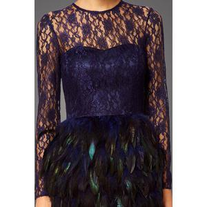 Lace Bodice Feather Prom Dress -