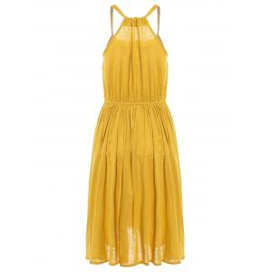Fashionable Sleeveless Pleated Pure Color Women's Dress -