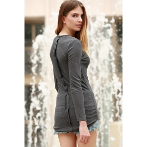 Casual Round Neck Cotton Blend Long Sleeves Stretchy Sweater For Women -