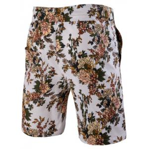 Casual Plant Printed Elastic Waist Board Shorts For Men -