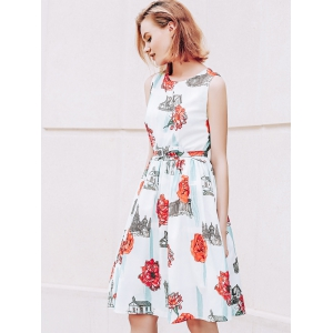 Stylish Jewel Neck Floral Print Sleeveless Belted Flare Dress For Women - RED/GREEN L