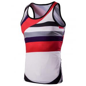 3D Men's Round Neck Irregular Striped Printed Tank Top