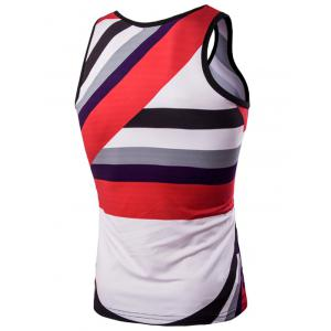 3D Men's Round Neck Irregular Striped Printed Tank Top - COLORMIX M