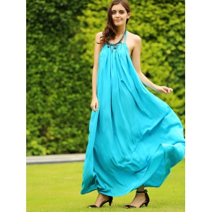Halter Open Back Long Swing Dress -