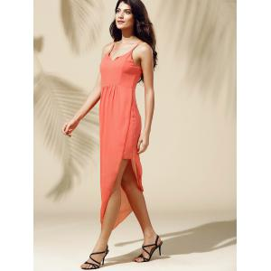 Fashionable Spaghetti Straps Solid Color Asymmetrical Dress For Women -