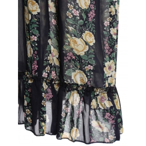 Stylish Plunging Neck Floral Print Maxi Dress with Tube Top For Women -