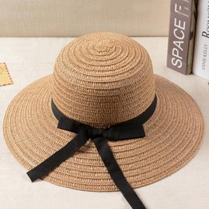 Cool Summer Chic Black Bowknot Lace-Up Panama Straw Hat For Women -