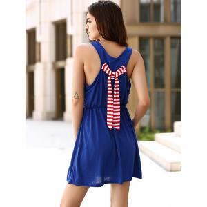 Chic U Neck Sleeveless Striped Pocket and Bowknot Embellished Dress For Women -