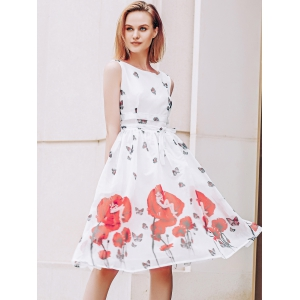 Elegant Scoop Neck  Sleeveless Floral Print Chiffon Dress For Women - RED/WHITE XL