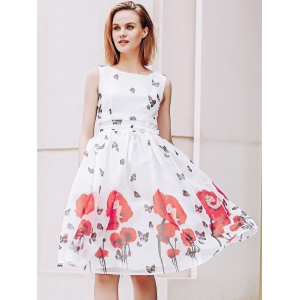 Elegant Scoop Neck  Sleeveless Floral Print Chiffon Dress For Women