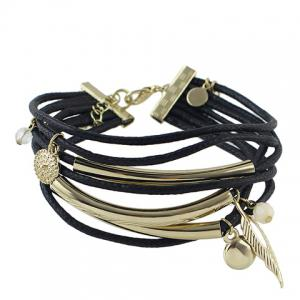 Chic Multilayer Rope Round Leaf Knitted Bracelet -