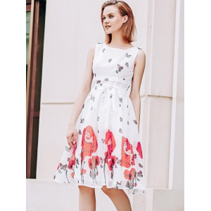 Elegant Scoop Neck  Sleeveless Floral Print Chiffon Dress For Women - RED WITH WHITE M