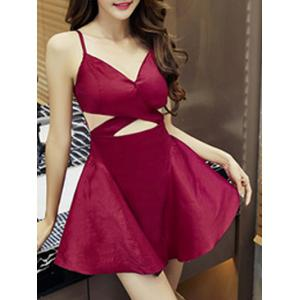 Simple Style Women's Cut Out Sleeveless V Neck Dress - WINE RED S