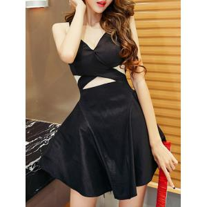 Simple Style Women's Cut Out Sleeveless V Neck Dress