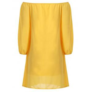 Stylish Off The Shoulder Long Sleeve Yellow Chiffon Dress For Women -
