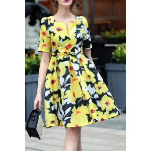 V-Neck Floral Print Bowknot Dress -