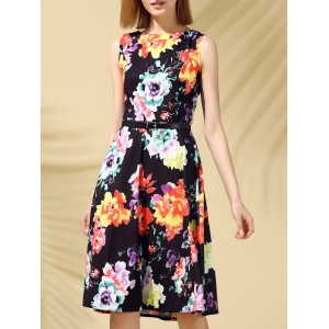 Retro Style Round Collar Sleeveless Floral Print Women's Dress