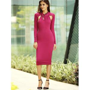 Backless Long Sleeve Bodycon Midi Cocktail Dress - RED S