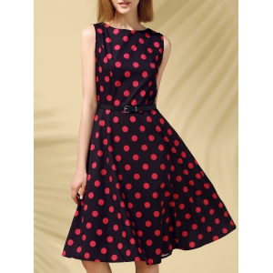 Retro Style Polka Dot Fit and Flare Dress