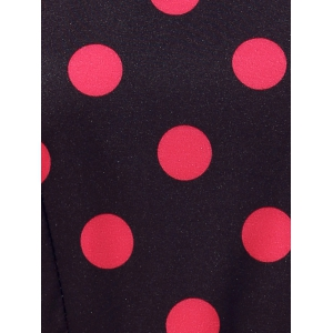 Retro Style Polka Dot Fit and Flare Dress - BLACK L