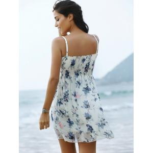 Refreshing Spaghetti Strap Floral Print Women's Mini Dress -