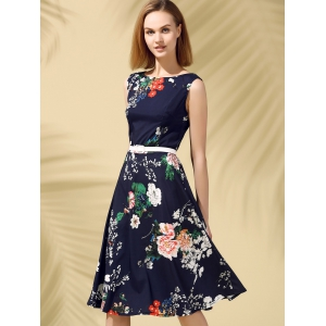 Floral Print Fit and Flare Midi Dress -