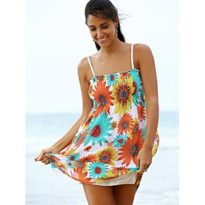 Sweet Spaghetti Strap Sunflower Print Women's Mini Dress -