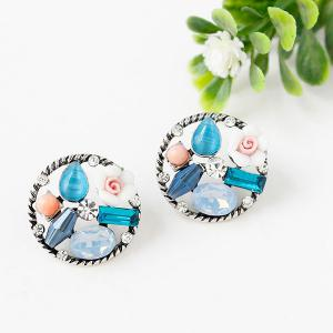Pair of Round Faux Gem Rhinestone Stud Earrings - COLORMIX