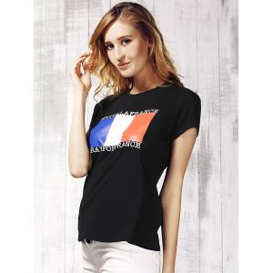 Women's Chic Round Neck Short Sleeve Flag Pattern T-Shirt - BLACK XL