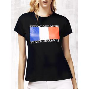 Women's Chic Round Neck Short Sleeve Flag Pattern T-Shirt